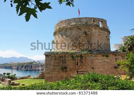 Turkey. Antalya town. Fortress. Beautiful view of harbor - stock photo