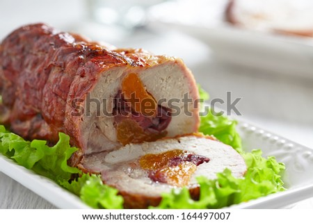 Turkey breast stuffed with apricot and cranberry - stock photo