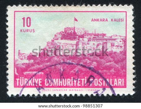 TURKEY - CIRCA 1963: A stamp printed by Turkey, shows Citadel,  Ankara, circa 1963 - stock photo