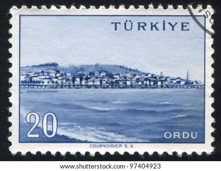 TURKEY - CIRCA 1959: A stamp printed by Turkey, shows Turkish city, Ordu, circa 1959. - stock photo