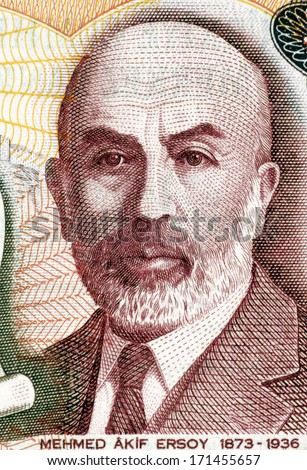 TURKEY - CIRCA 1984: Mehmet Akif Ersoy (1873-1936) on 100 Lira 1984 Banknote from Turkey.Turkish poet, author, academic and member of parliament. - stock photo