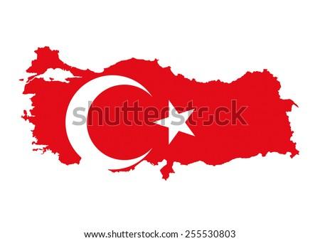turkey country flag map shape national symbol - stock photo