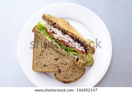 Turkey cranberry walnut break sandwich on a plate - stock photo