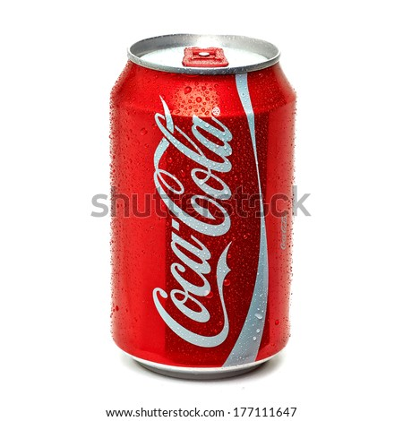TURKEY - FEBRUARY 11, 2014: Classic Coca-Cola Can on White Background. - stock photo
