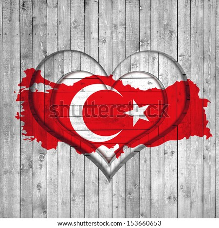 turkey flag, map, wooden background with heart - stock photo