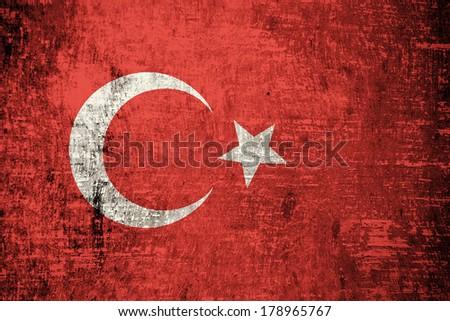 Turkey flag on wood texture  - stock photo
