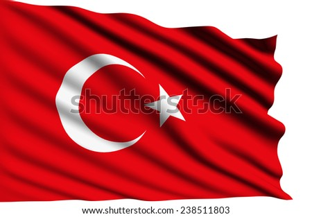Turkey flag with fabric structure (clipping path)  - stock photo