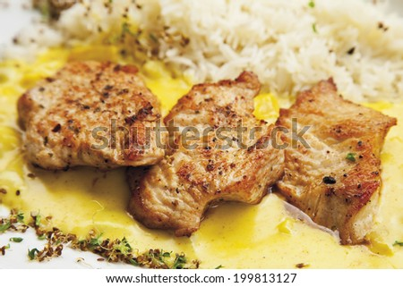 Turkey hen filet garnished with rice and curry sauce - stock photo