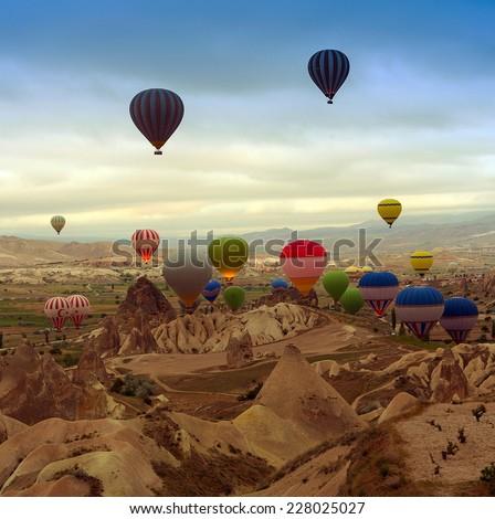 Turkey. Hot air balloon in sunrise mountain Cappadocia.Turkey. - stock photo