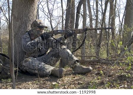 turkey hunter - right - stock photo