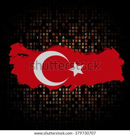 Turkey map flag on hex code illustration - stock photo
