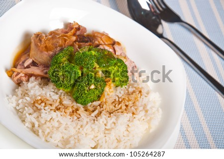 turkey meat topped with steamed broccoli and gravy on a side - stock photo