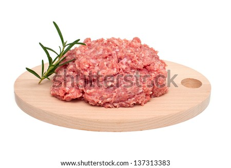 turkey minced meat isolated on white background - stock photo