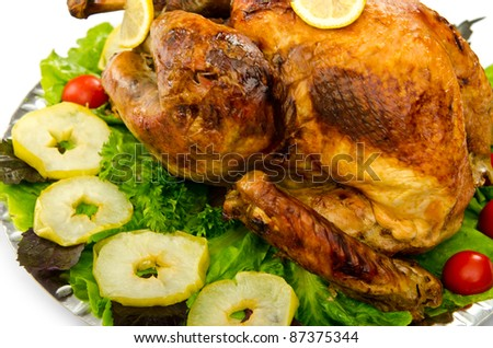 Turkey roasted and served in the plate - stock photo