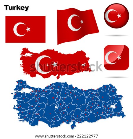 Turkey set. Detailed country shape with region borders, flags and icons isolated on white background. - stock photo