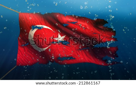 Turkey Under Water Sea Flag National Torn Bubble 3D - stock photo