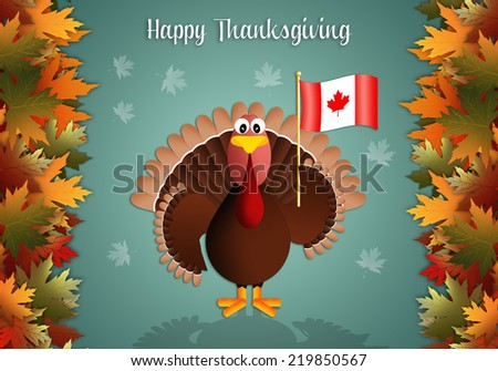 Turkey with flag of Canada for Thanksgiving - stock photo