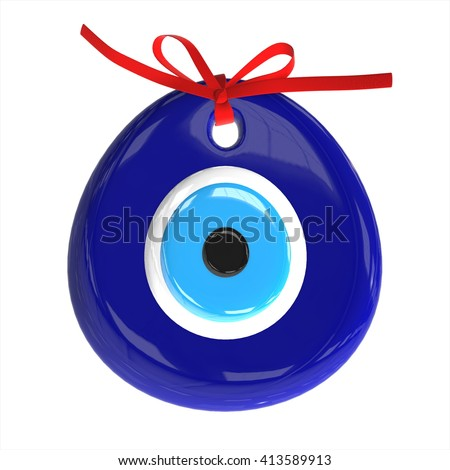 Turkish amulet. Evil eye. 3D Render , 3D illustration. - stock photo