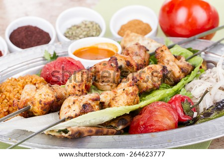 Turkish and Arabic Traditional Skewer Chicken Kebab - stock photo