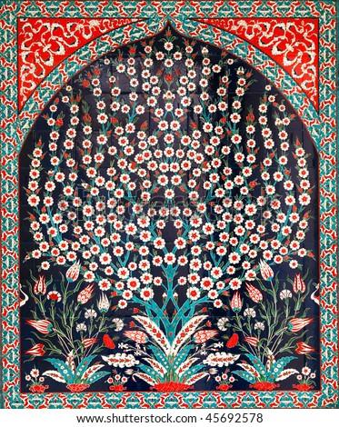 Turkish artistic wall tile - tree design - stock photo