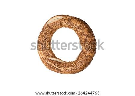 Turkish bagel on white background - stock photo