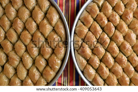 Turkish baklava made from gaziantep very famous sweet in Turkey. - stock photo