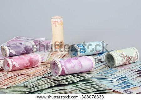 Turkish banknotes - stock photo