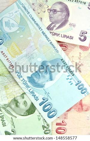 Turkish banknotes.  Lira  ( TL ) - stock photo