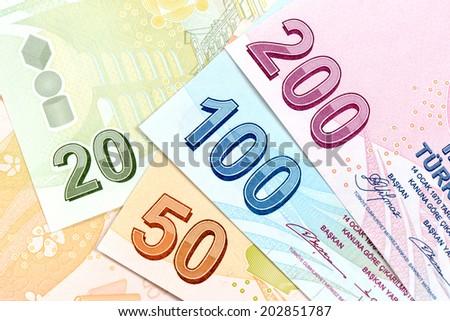 Turkish banknotes, Turkish Lira Numbers macro shot. - stock photo