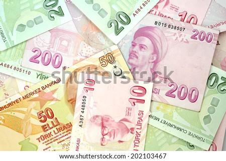 Turkish banknotes. Turkish Lira ( TL ) - stock photo