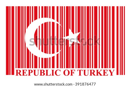 Turkish barcode flag - stock photo