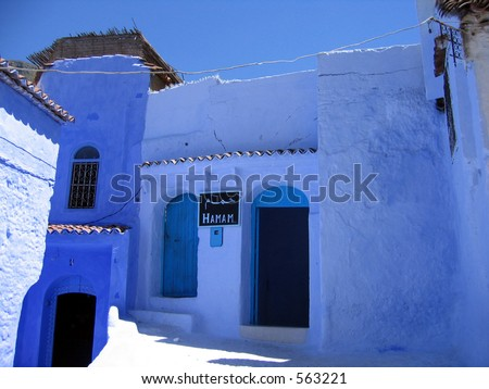 Turkish bath (hamam) in a blue city of Chefchaouen - stock photo