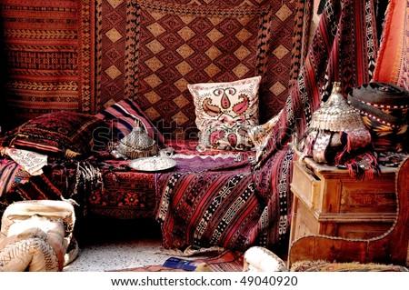 Turkish carpet store, bazaar - stock photo