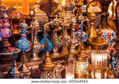 Turkish ceramic and copper jars on sale at the Grand Bazaar in Istanbul, Turkey. - stock photo