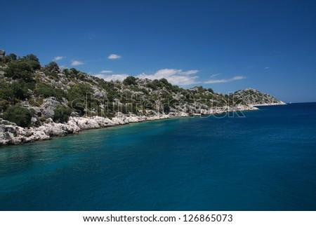 Turkish coast at Kemer region - stock photo