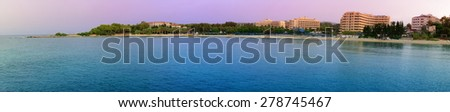 Turkish coast. Hotels. Mediterranean Sea. - stock photo