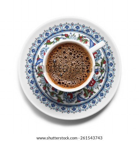 Turkish coffee top view - stock photo