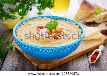 Turkish cuisine - homemade hummus - stock photo