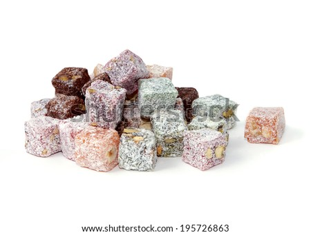 Turkish delight over white background, isolated over white - stock photo