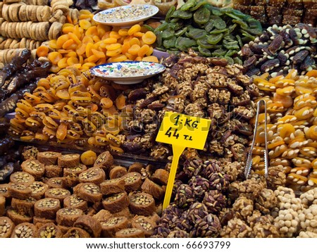 Turkish delights at the grand bazaar in Istanbul. - stock photo