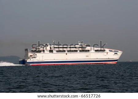 Turkish ferry ship moving in the sea - stock photo