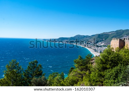 turkish flag on castle of Alanya, Antalya, Turkey - stock photo