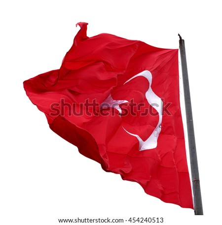 Turkish flag waving in windy day. Isolated on white background. - stock photo
