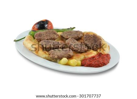 Turkish Food isolated meatball on white background. Kebab ottoman - stock photo