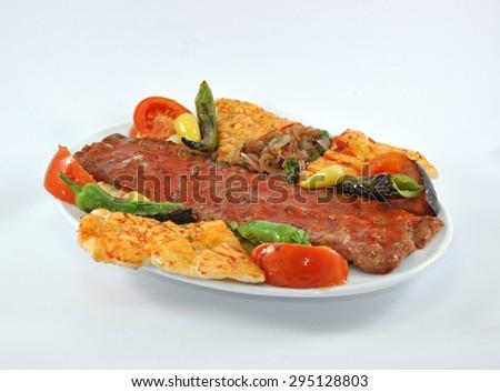 Turkish Food  isolated on white background. Kebab ottoman  - stock photo