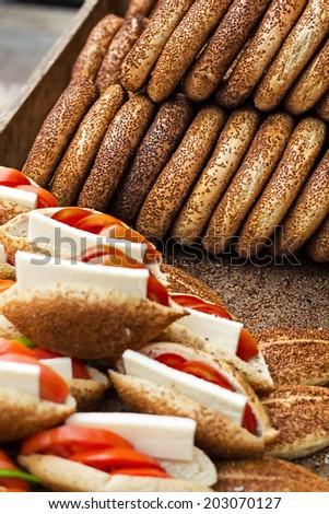 Turkish Food Simit - stock photo