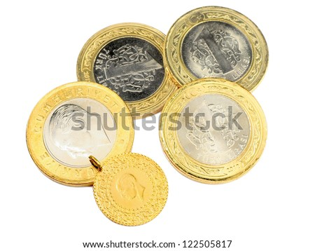 Turkish gold coin and a group of money. Isolated on white background - stock photo