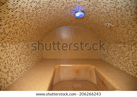 Turkish hamam with ceramic tile in roman style - stock photo