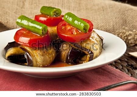 Turkish Islim kofte meatball and eggplant - stock photo