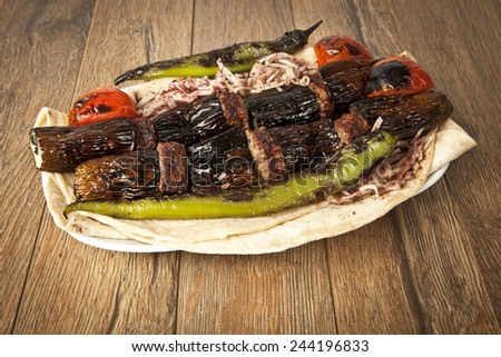 Turkish Kebab eggplant and meatballs - stock photo